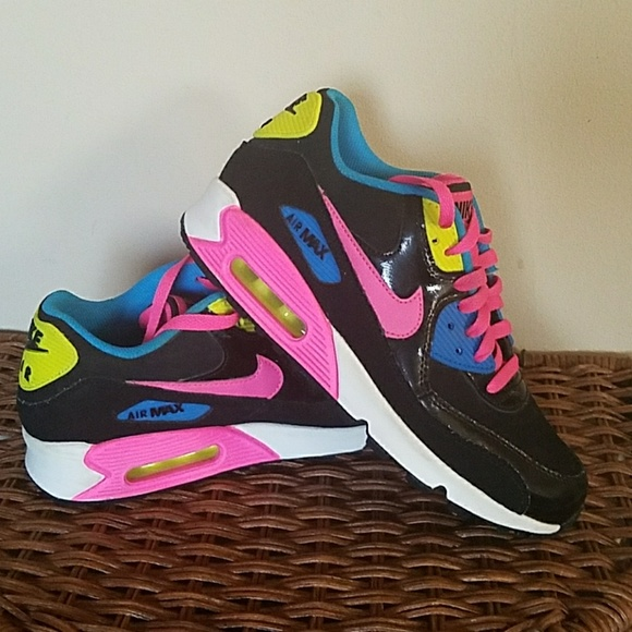 best website 66fa3 4f50d NIKE Air Max 90 Black Suede Neon Yellow Pink Blue.  M 5b38220ef63eea7cc8edbf3e